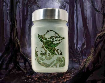 Star Wars Yoda Etched Glass Stash Jar - Weed Accessories, Stoner Gifts - Cool Stash Jars - Stoner Accessories, Weed Jars - Dope Accessories