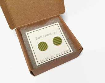 Olive green and ochre yellow striped earring studs (stripes earrings, minimalistic studs, ochre yellow, moss green jewelry, clay studs)