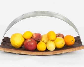 Wine Barrel Fruit Tray with Steel Handle