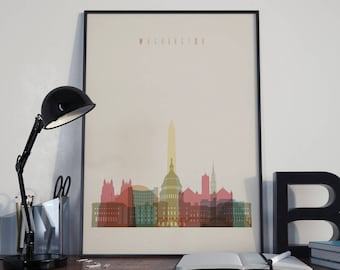 Washington Art Watercolor Washington Wall Art Washington DC Home Decor Washington Skyline Multicolor Washington Print Washington Wall Decor