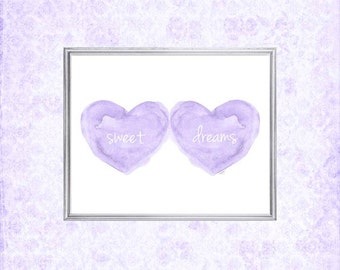 Lavender Nursery Art, Sweet Dreams Print, Purple Nursery Art, Baby Sleeping, Lavender Baby Decor, 8x10 Lavender Watercolor Print, Baby Gift