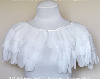 Wedding Chiffon Feather Cape, Bridal Jacket, White Capelet, Wing Bolero, Silk Shrug,Beautiful & Romantic Cover Up,Unique Designer  Accessory