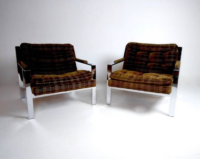 Pair of Mid Century Modern CHROME Cy Mann MILO BAUGHMAN Style Club Chairs