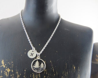 Sterling silver pine tree necklace, pine tree necklace, forest necklace, woods necklace, camping necklace, hiking necklace, nature necklace