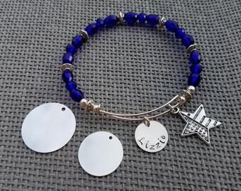 Blue Customized Beaded Bangle, USA beaded bangle, 4th of July Beaded Bangle, Patriotic Bracelet, 4th of July bracelet, USA flag bracelet