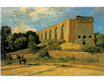 The Aqueduct at Marly - Alfred Sisley - Fine Art Print - Reproduction Print form 1979 Vintage Book - 12 x 9