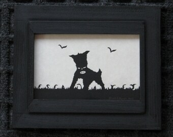 Nicks Little Dog - Custom Personalized  - Scherenschnitte - Hand Paper Cutting Art signed and dated By Janet Lynch - Framed