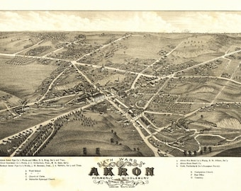 Akron, Ohio - (1882) - Panoramic Map (Art Print - Multiple Sizes Available)