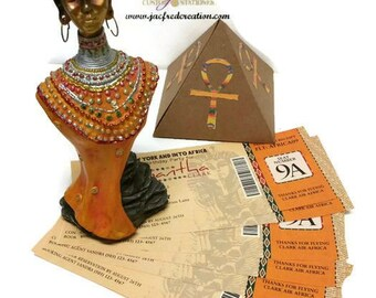 African Themed Boarding Pass Invitation. (A Jacfred Creation Exclusive!