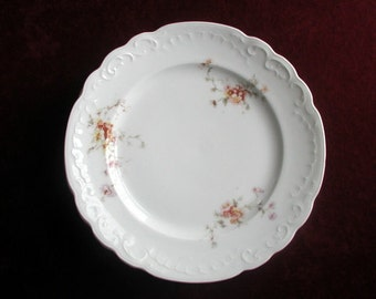 Set of 4 Antique Victorian Floral Cake Plates Karlsbad Austria Vintage Bohemian Porcelain