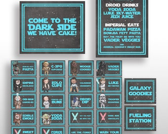 EDITABLE PRINTABLE Star Wars Blue Birthday Party Food Card Tents, Menu & Signs + Characters * Place Cards, Name Cards, Labels * DOWNLOAD