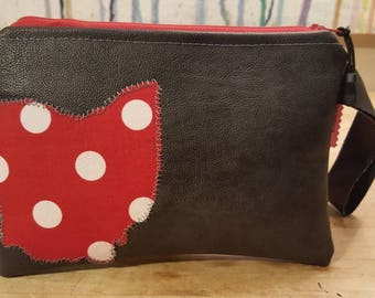 Leather Wristlet/Clutch with Ohio Detail
