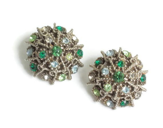 Green Blue Clear Rhinestone Earrings Domed Segmented Spokes Gold Tone Vintage