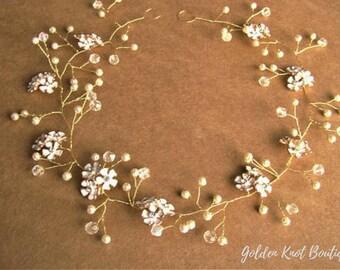 hair vine jewelry, bridal hair piece, bridal hair vine, bridal headpiece, bridal crowns, bridal halo crown, gold hair vine, hair vine pearls