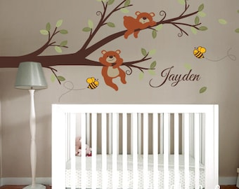 Wall Decor Branch, Bears and Bees with Custom Name - Nursery Wall Decal