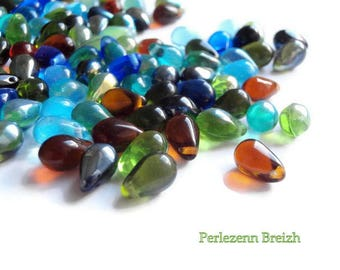 Assortment of 100 glass beads drop multicolor-5x9mm