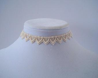 Cream Crochet choker necklace