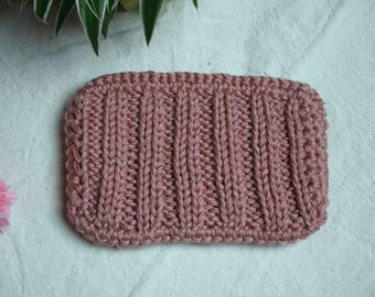 Pink acrylic wool pouch