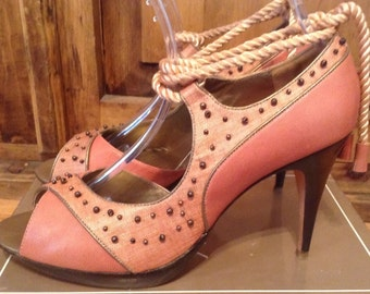 C Label. New size 10 rope tie mauve colored leather with beaded detail shoes