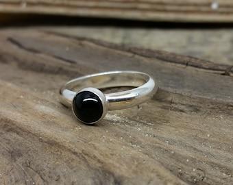 Black Onyx Ring, black onyx jewellery, black stone ring, gemstone ring, sterling silver ring, silver ring, stacking ring, black ring