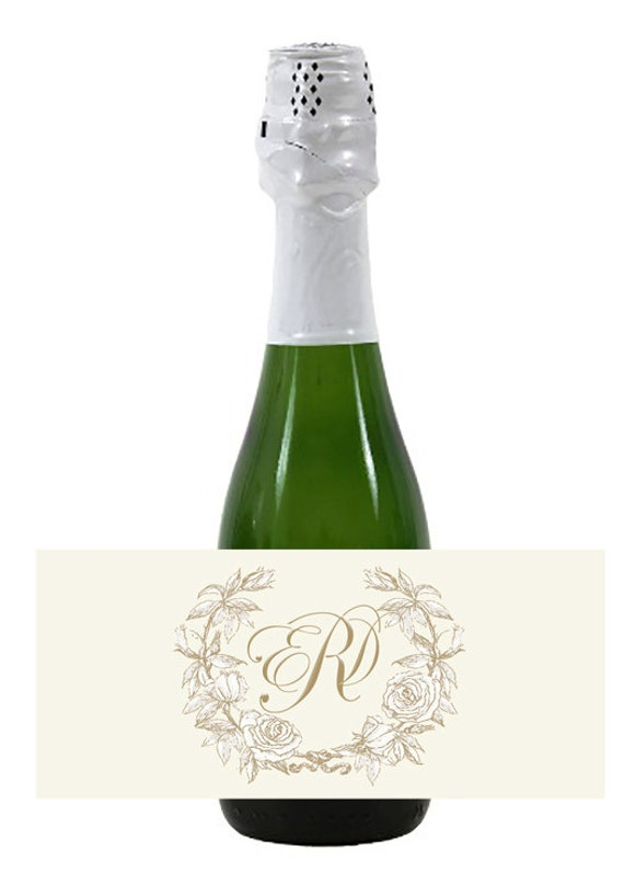 20 mini wine or champagne monogram labels for wedding welcome