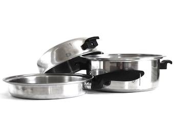 "West Bend Deluxe Permanent Cookware 10"" Skillet, Solar Sturges Permanent Dutch Oven, Dome Lid, Stainless Pots Pans"