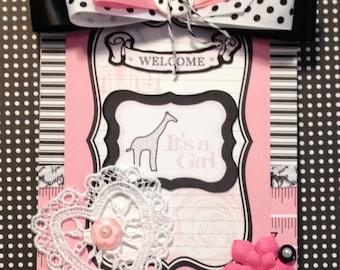 Baby Girl Card,  Welcome Baby Card, Girraffe