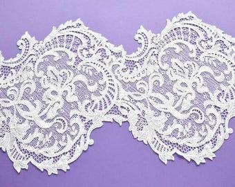 White Cotton Lace Trim, White Floral Wedding Lace, White Lace Decor, Wedding Dress, Bridal Lace