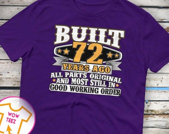 72nd Birthday Gift 72nd Birthday Shirt 72nd bday 72nd birthday idea Funny 72nd Tee 72 Years old Turning 72 gift for 72 year old