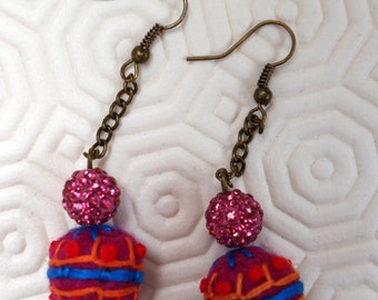 earrings, felted and embroidered wool beads