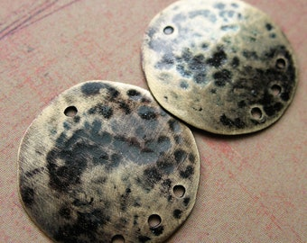 Hammered Black Blue Patina Brass Hole Punched Disc Charms - 1 pair - 20mm