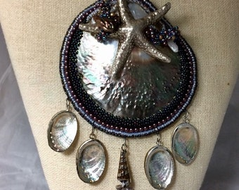 BEACHCOMBER  Bead Embroidery  and Bead Woven Seashell  Necklace  Abalone shell, Silver Starfish  Demi bead Spiral stitch