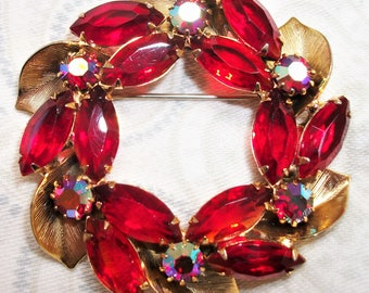 Vintage Gold Tone Red Aurora Borealis and Red Rhinestone Wreath Brooch