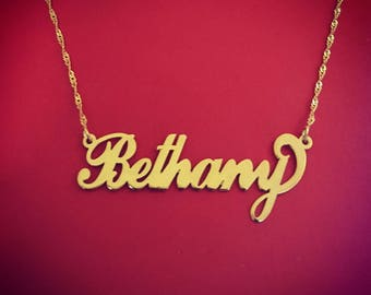Name chain gold gift for girlfriend 14kt gold name necklace 14 karat gold name necklace