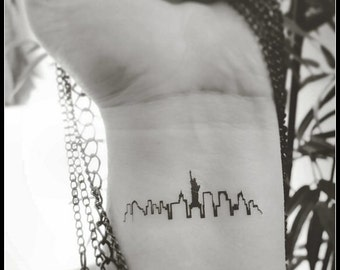 New York skyline tattoo temporary tattoos fake tattoos New York city silhouette tattoos