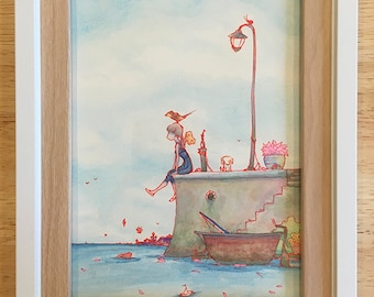 Lily dreams of sailing 5 x 7 inch painting