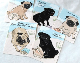 Beach Pug Valentines - Eco-friendly Set of 5