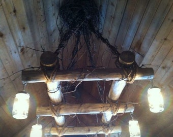 Log chandelier with 6 lights