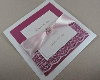 Chantilly wedding invitation sample
