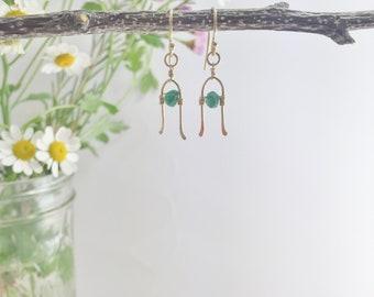 Green Earrings - Green Agate Earrings - Horseshoe Earrings - Delicate Gold Filled  -  Boho Green Dangle Earrings - St. Patricks Day Earrings