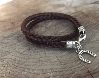 Sterling Silver Horsehair Bracelet, Wraparound Square Braid