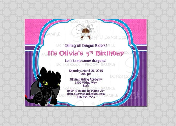 How to Train Your Dragon Birthday Invitation for Girls