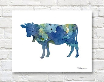 Blue Cow Art Print - Abstract Watercolor Painting - Wall Decor