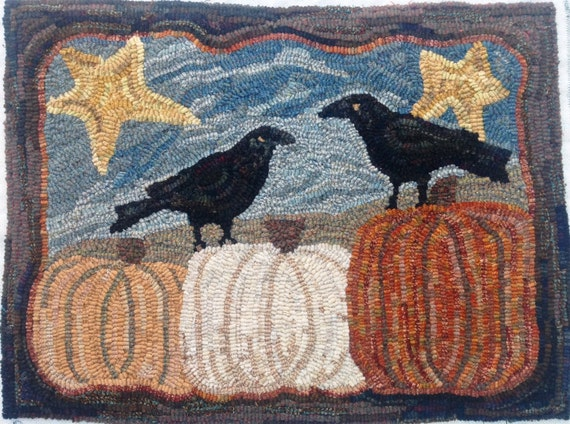 """Rug Hooking Pattern, Two Crows and Three Pumpkins, 18"""" x 24"""", J962"""