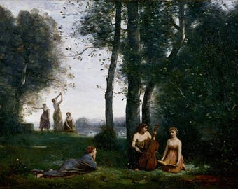 Jean-Baptiste-Camille Corot: The Country Concert. Fine Art Print/Poster (004630)