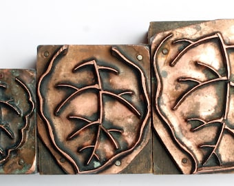 OUTLINE LEAVES 1903-1953 Antique GERMAN Copper Letterpress Cut printing block Foliage