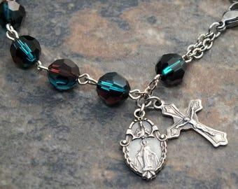 Swarvoski Crystal Rosary Bracelet in Blue Zircon and Burgundy, Miraculous Medal, Single Decade Rosary Bracelet, 1 Decade Chaplet