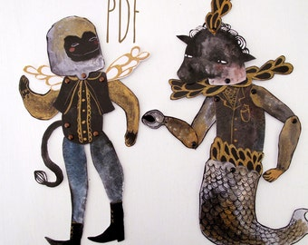 Hybrid Hinged Beasts Articulated Paper Dolls V3 PDF / Hinged Beasts Series