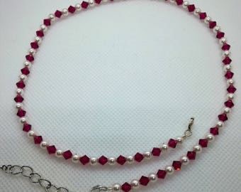 Swarovski pearl and ruby choker style,dainty necklace,beaded necklace