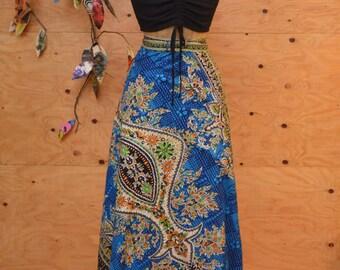 Vintage 70's India Bohemian Moroccan Print Green & Blue Wrap Maxi Skirt One Size